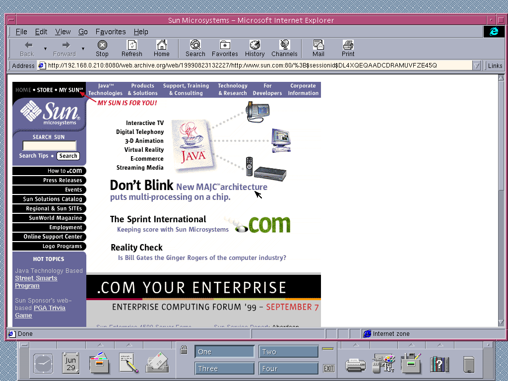 Solaris 2.6 SPARC with Internet Explorer 4.0 for UNIX displaying a page from Sun Microsystems archived at August 23, 1999 at 13:22:27