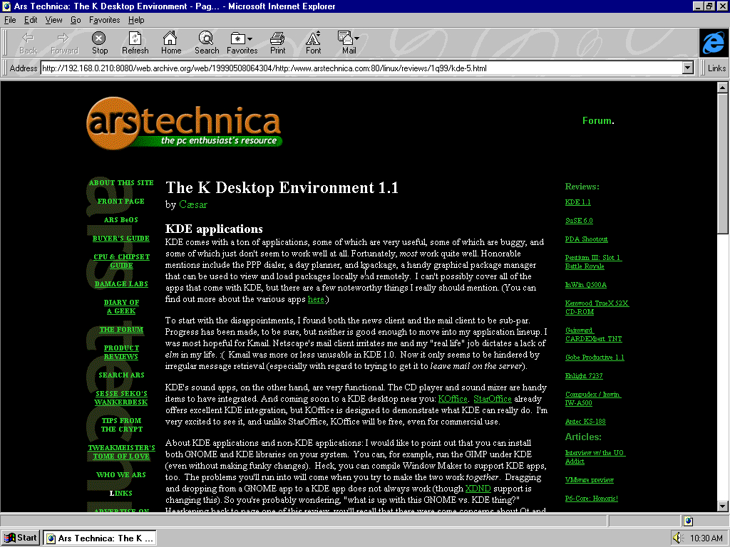 Windows 95 OSR2 x86 with Microsoft Internet Explorer 3.0 displaying a page from Arstechnica.com archived at May 08, 1999 at 06:43:04