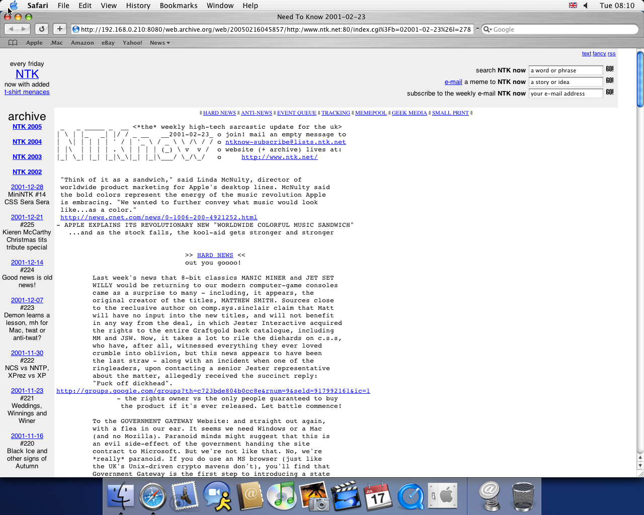 OS X 10.3 PPC with Safari 1.1 displaying a page from NTK archived at February 16, 2005 at 04:58:57