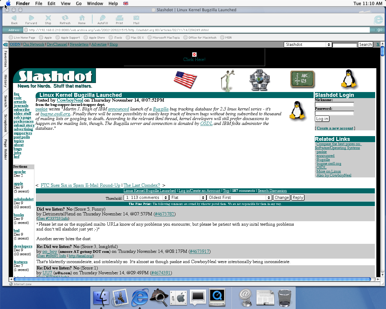 OS X 10.0 PPC with Microsoft Internet Explorer 5.1 for Mac Preview displaying a page from Slashdot archived at December 09, 2002 at 22:15:15