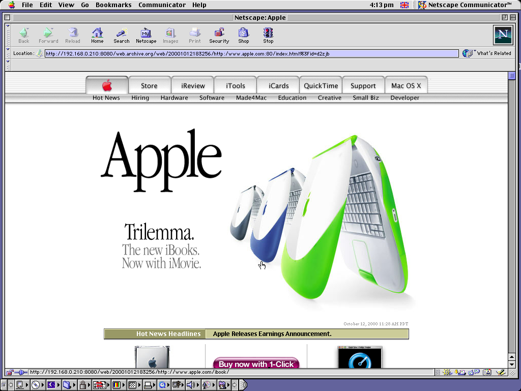 Mac OS 9.0.4 PPC with Netscape Communicator 4.73 displaying a page from Apple.com archived at October 12, 2000 at 18:32:56
