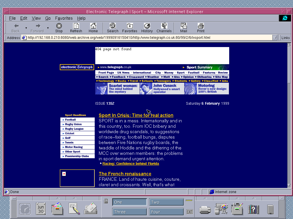 Solaris 2.6 SPARC with Internet Explorer 4.0 for UNIX displaying a page from The Telegraph archived at September 16, 1999 at 15:04:10