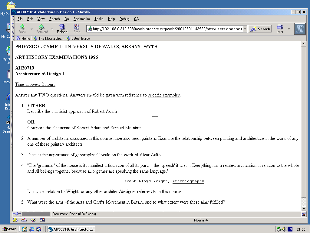 Windows 2000 Pro x86 with Mozilla Suite 0.6 displaying a page from University of Aberystwyth archived at May 01, 2001 at 14:29:22