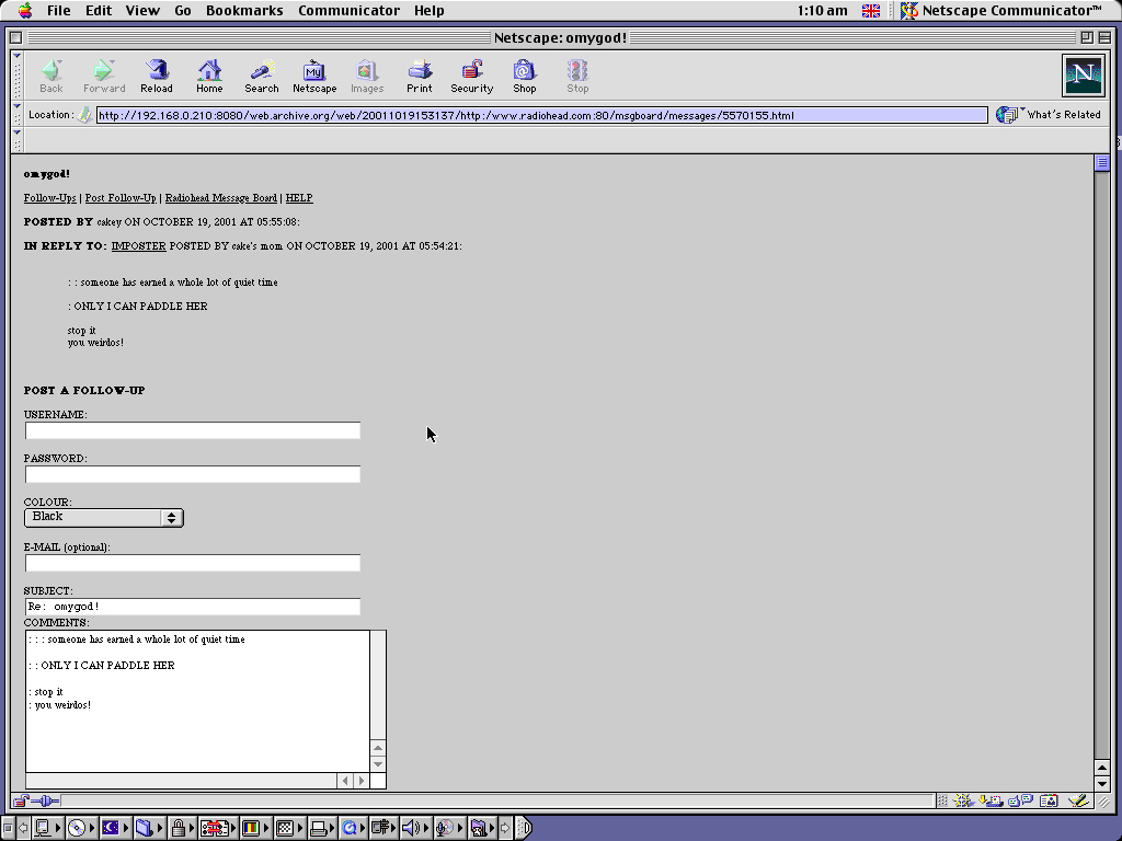 Mac OS 9.0.4 PPC with Netscape Communicator 4.73 displaying a page from Radiohead.com archived at October 19, 2001 at 15:31:37