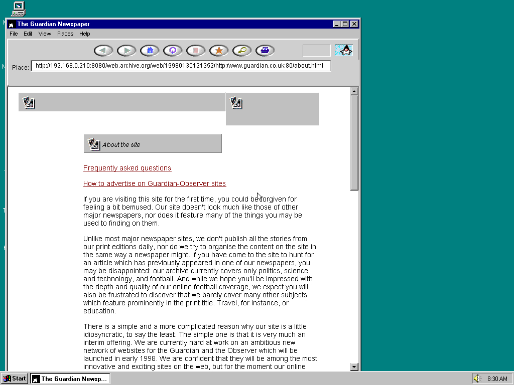 Windows 95 OSR2 x86 with HotJava 1.0 displaying a page from The Guardian archived at January 30, 1998 at 12:13:52