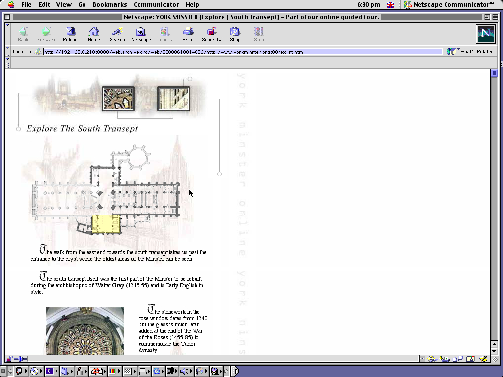 Mac OS 9.0.4 PPC with Netscape Communicator 4.73 displaying a page from York Minster archived at June 10, 2000 at 01:40:26