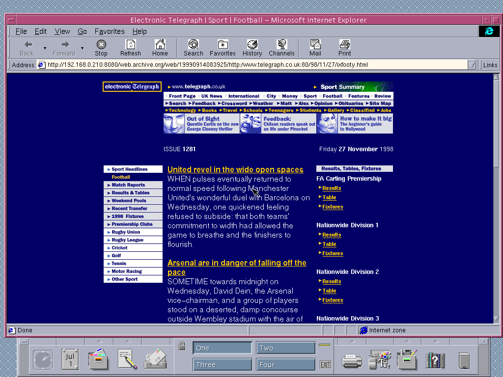 Solaris 2.6 SPARC with Internet Explorer 4.0 for UNIX displaying a page from The Telegraph archived at September 14, 1999 at 08:39:25