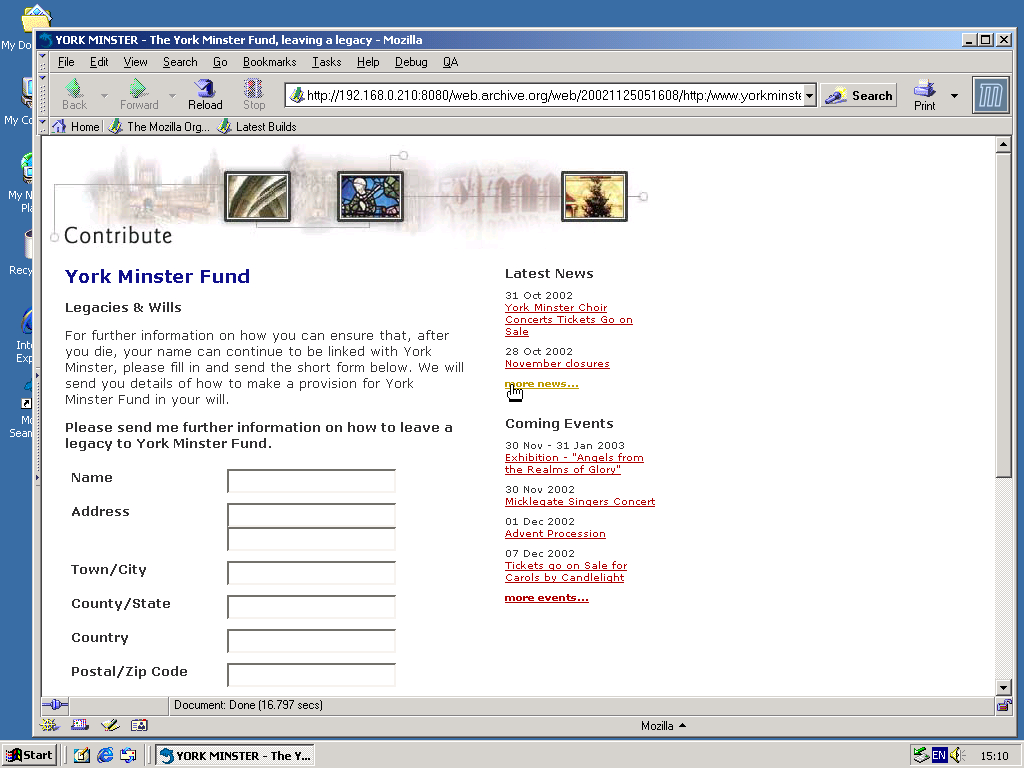 Windows 2000 Pro x86 with Mozilla Suite 0.6 displaying a page from York Minster archived at November 25, 2002 at 05:16:08
