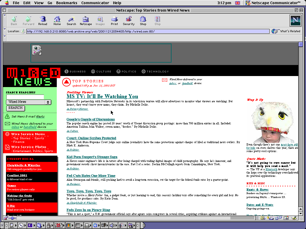 Mac OS 9.0.4 PPC with Netscape Communicator 4.73 displaying a page from Wired archived at December 12, 2001 at 03:44:03