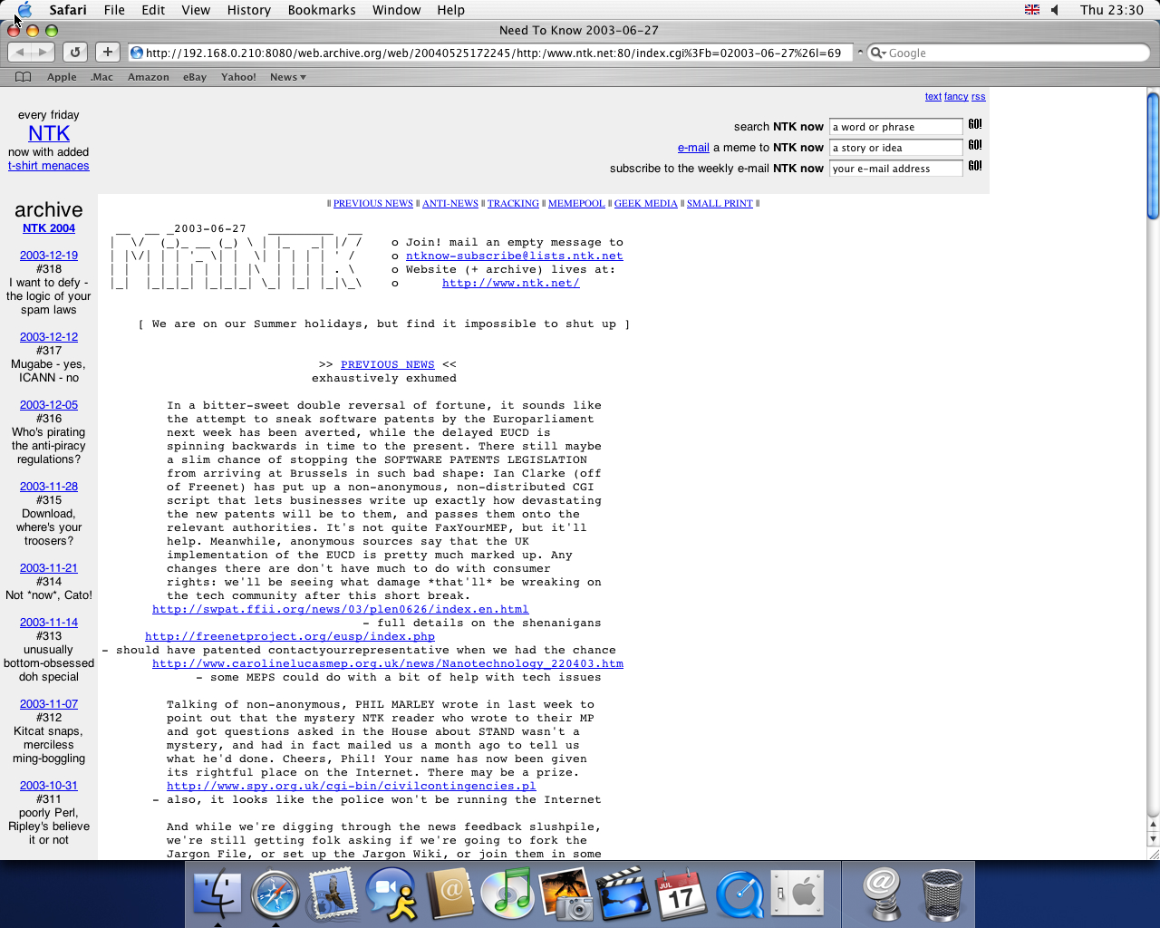 OS X 10.3 PPC with Safari 1.1 displaying a page from NTK archived at May 25, 2004 at 17:22:45