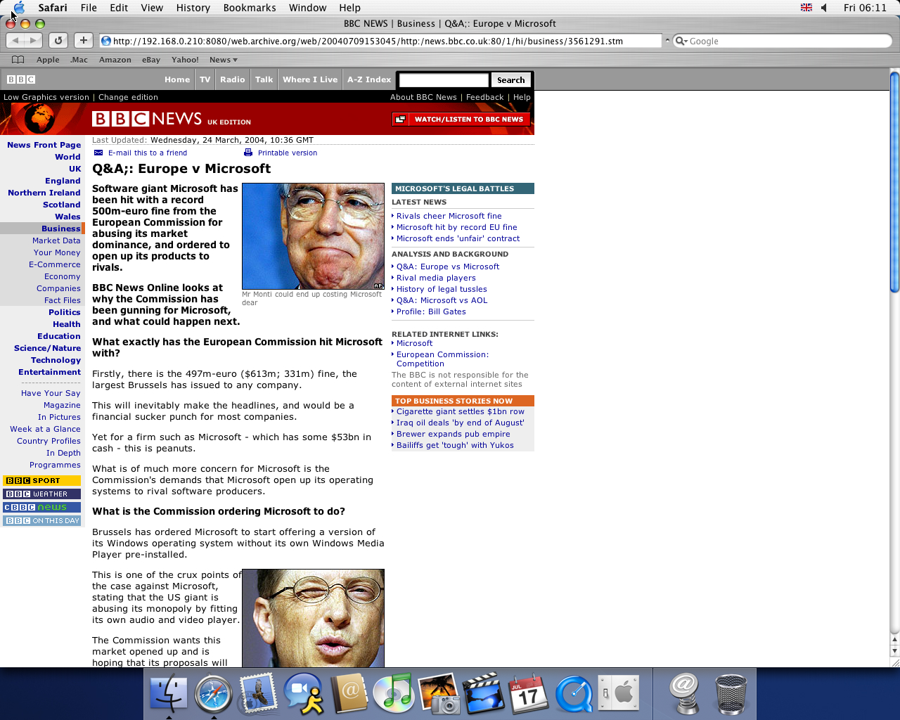 OS X 10.3 PPC with Safari 1.1 displaying a page from BBC News archived at July 09, 2004 at 15:30:45