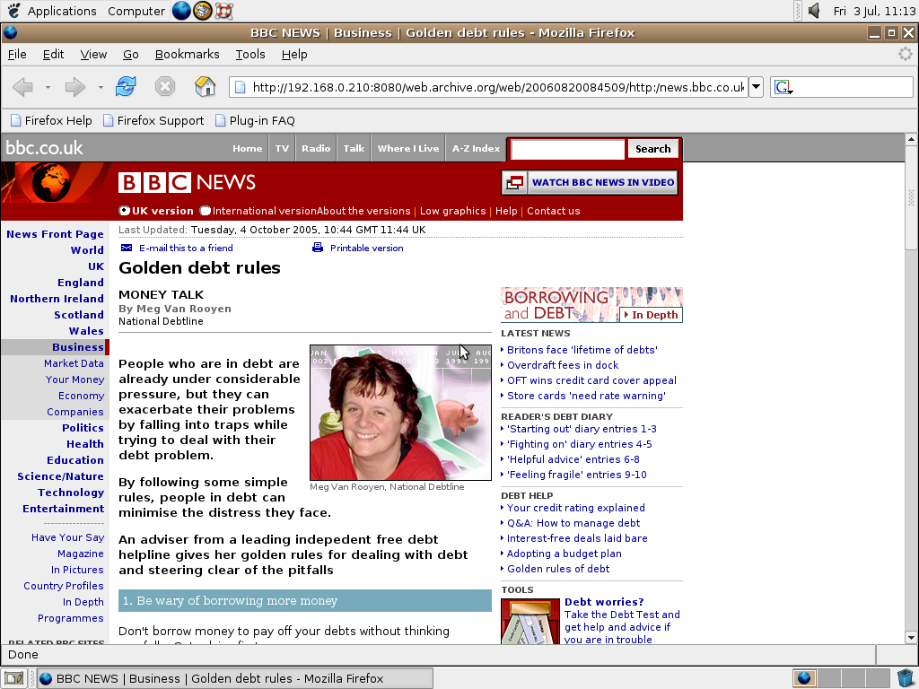 Ubuntu 4.10 x86 with Mozilla Firefox 0.9.3 displaying a page from BBC News archived at August 20, 2006 at 08:45:09