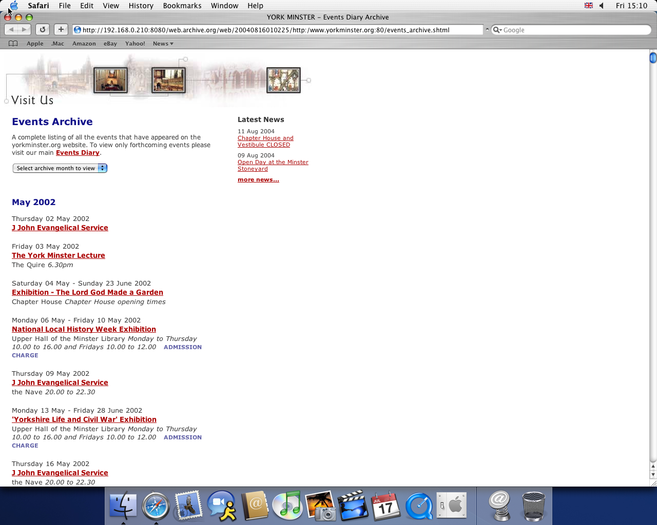 OS X 10.3 PPC with Safari 1.1 displaying a page from York Minster archived at August 16, 2004 at 01:02:25