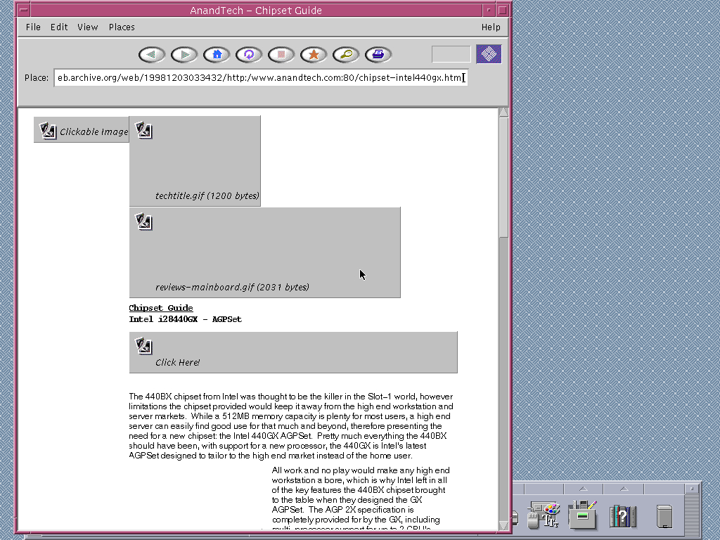 Solaris 2.6 SPARC with HotJava 1.0 displaying a page from AnandTech archived at December 03, 1998 at 03:34:32