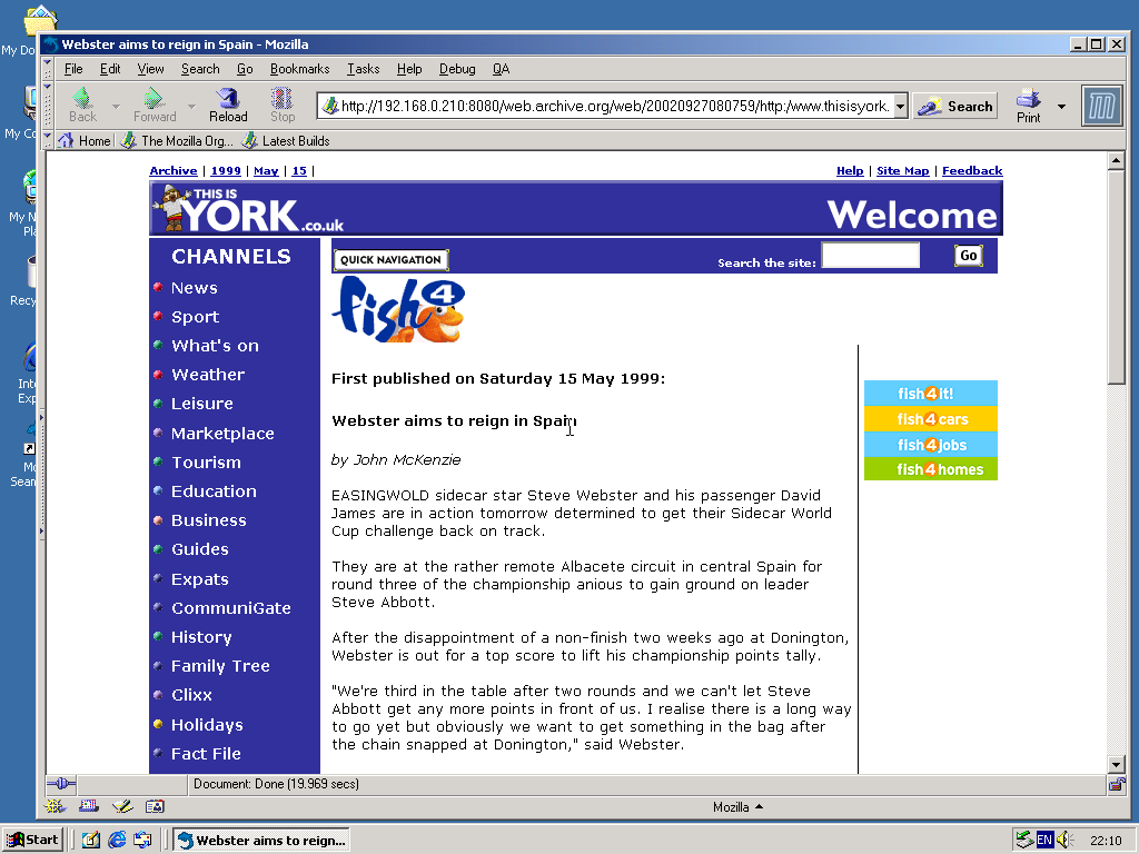 Windows 2000 Pro x86 with Mozilla Suite 0.6 displaying a page from York Press archived at September 27, 2002 at 08:07:59