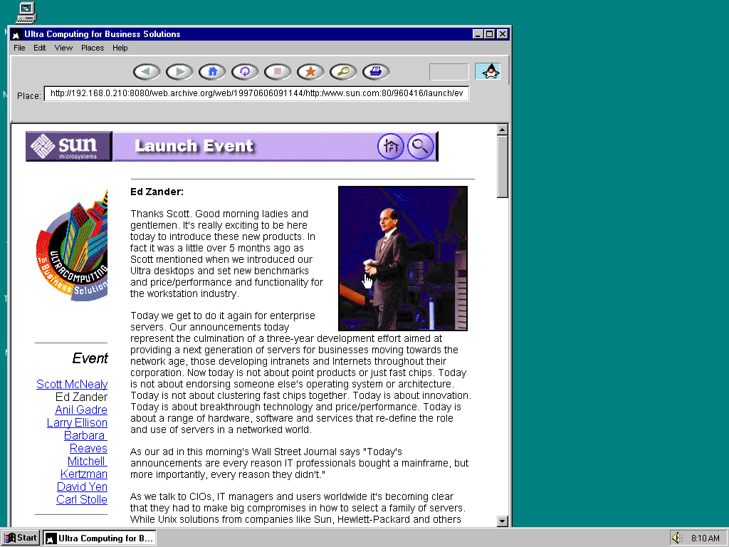 Windows 95 OSR2 x86 with HotJava 1.0 displaying a page from Sun Microsystems archived at June 06, 1997 at 09:11:44