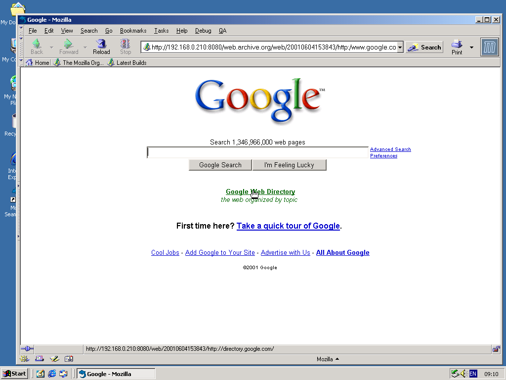 Windows 2000 Pro x86 with Mozilla Suite 0.6 displaying a page from Google.com archived at June 04, 2001 at 15:38:43