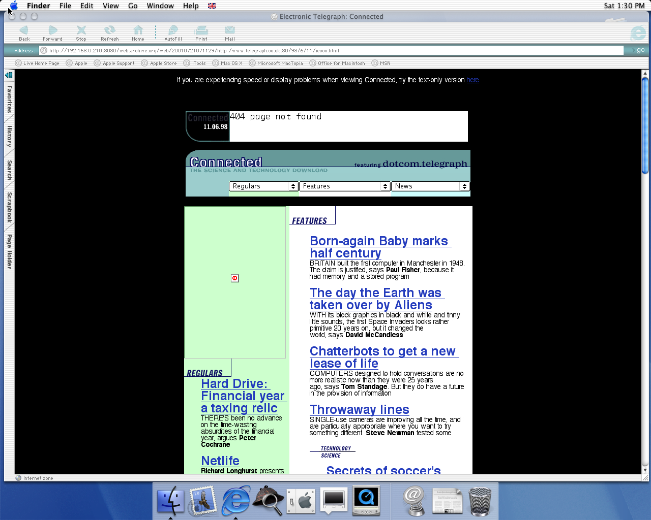 OS X 10.0 PPC with Microsoft Internet Explorer 5.1 for Mac Preview displaying a page from The Telegraph archived at July 21, 2001 at 07:11:29