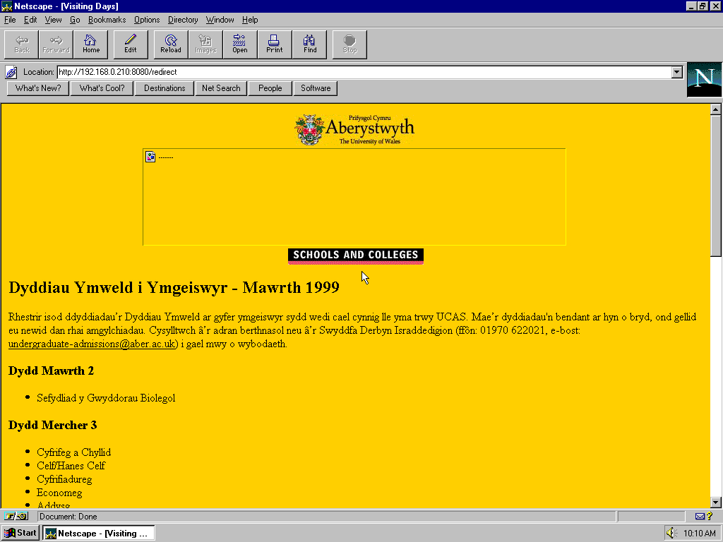 Windows 95 OSR2 x86 with Netscape Navigator 3.0 Gold displaying a page from University of Aberystwyth archived at May 02, 1999 at 00:34:20