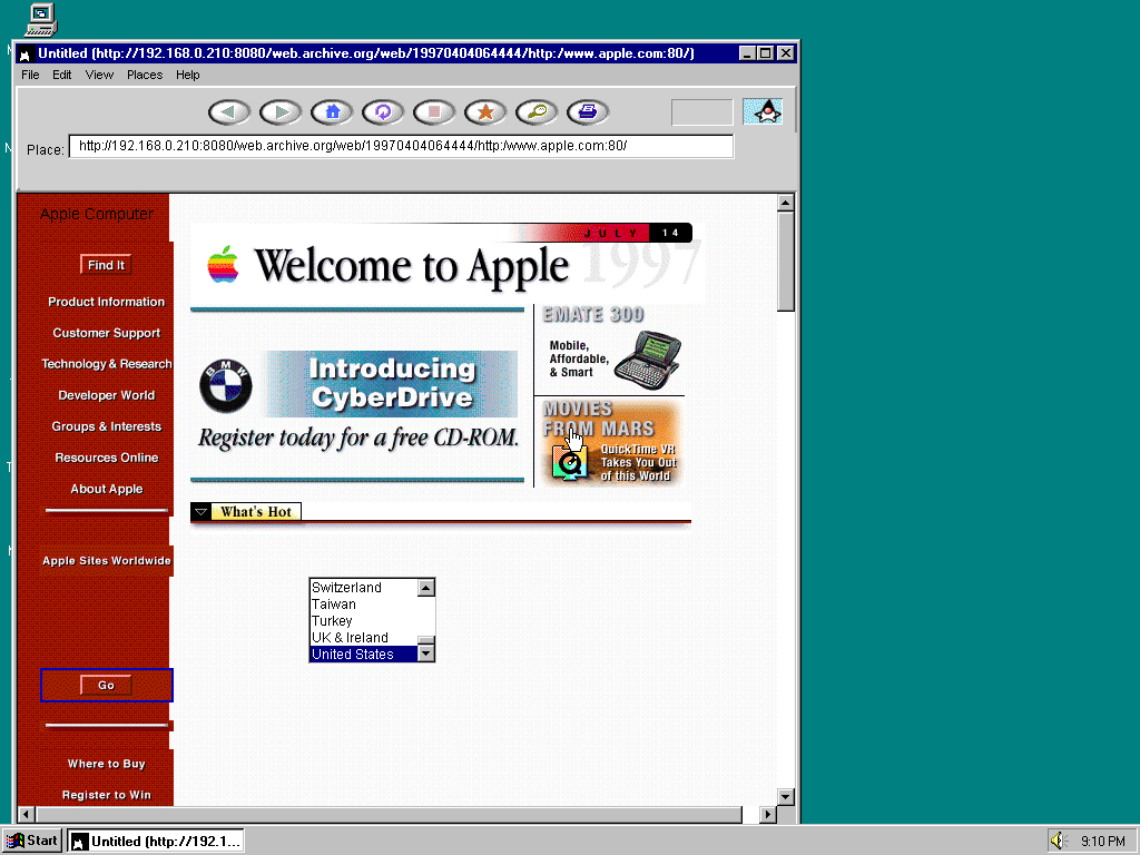 Windows 95 OSR2 x86 with HotJava 1.0 displaying a page from Apple.com archived at April 04, 1997 at 06:44:44