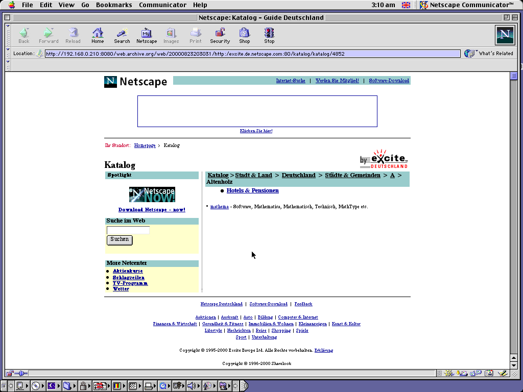 Mac OS 9.0.4 PPC with Netscape Communicator 4.73 displaying a page from Netscape archived at August 23, 2000 at 20:30:31