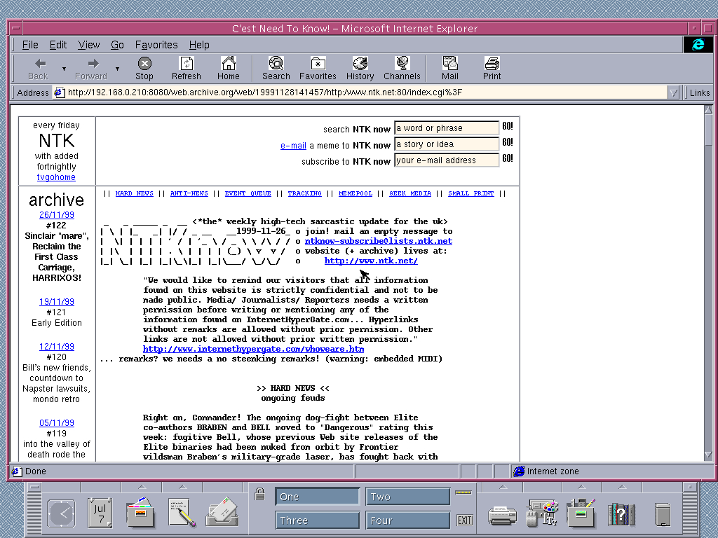 Solaris 2.6 SPARC with Internet Explorer 4.0 for UNIX displaying a page from NTK archived at November 28, 1999 at 14:14:57