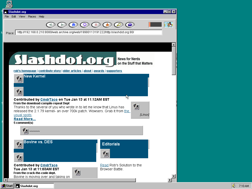Windows 95 OSR2 x86 with HotJava 1.0 displaying a page from Slashdot archived at January 13, 1998 at 19:12:22
