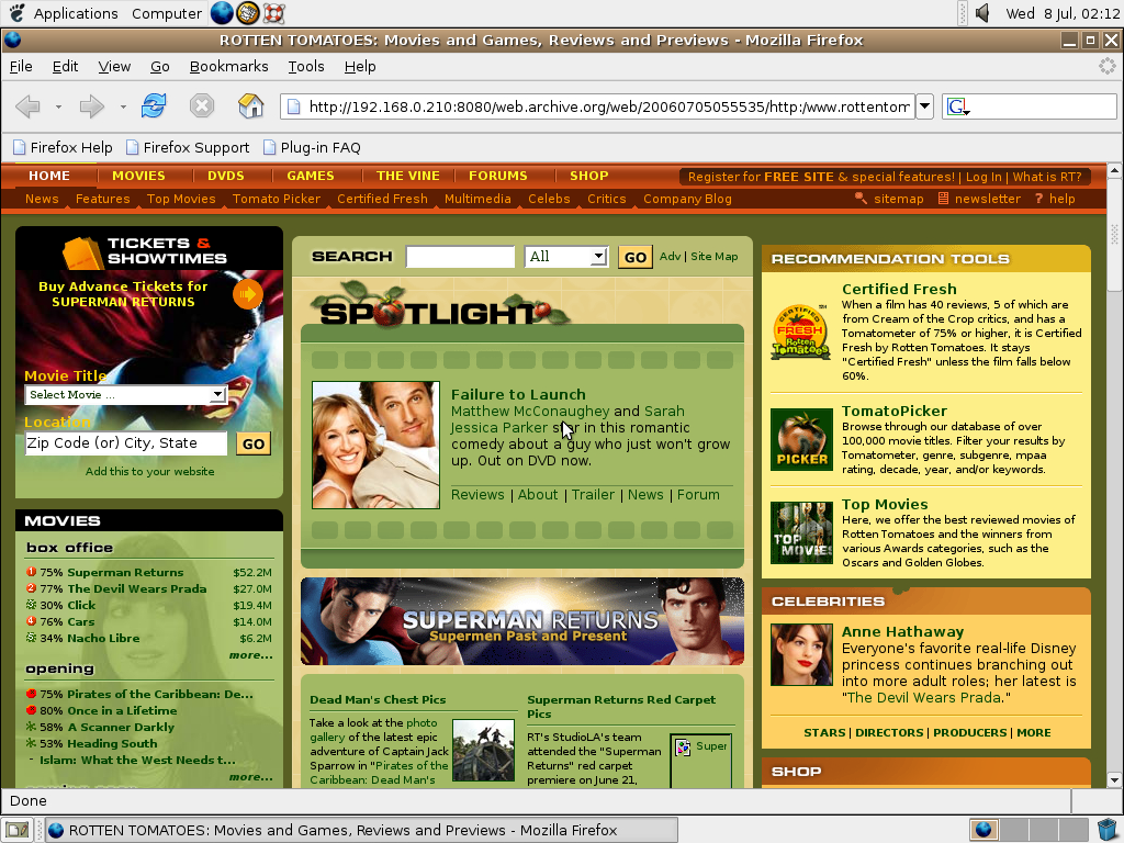 Ubuntu 4.10 x86 with Mozilla Firefox 0.9.3 displaying a page from Rotten Tomatoes archived at July 05, 2006 at 05:55:35