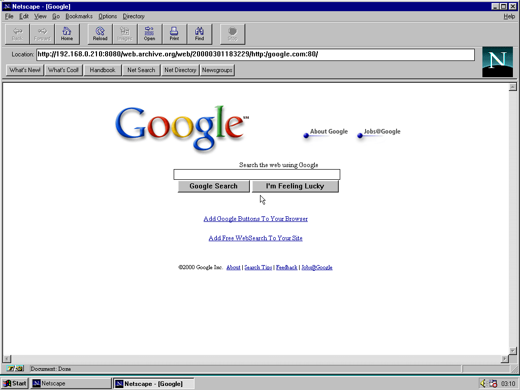 Windows 95 RTM x86 with Netscape Navigator 1.1 displaying a page from Google.com archived at March 01, 2000 at 18:32:29