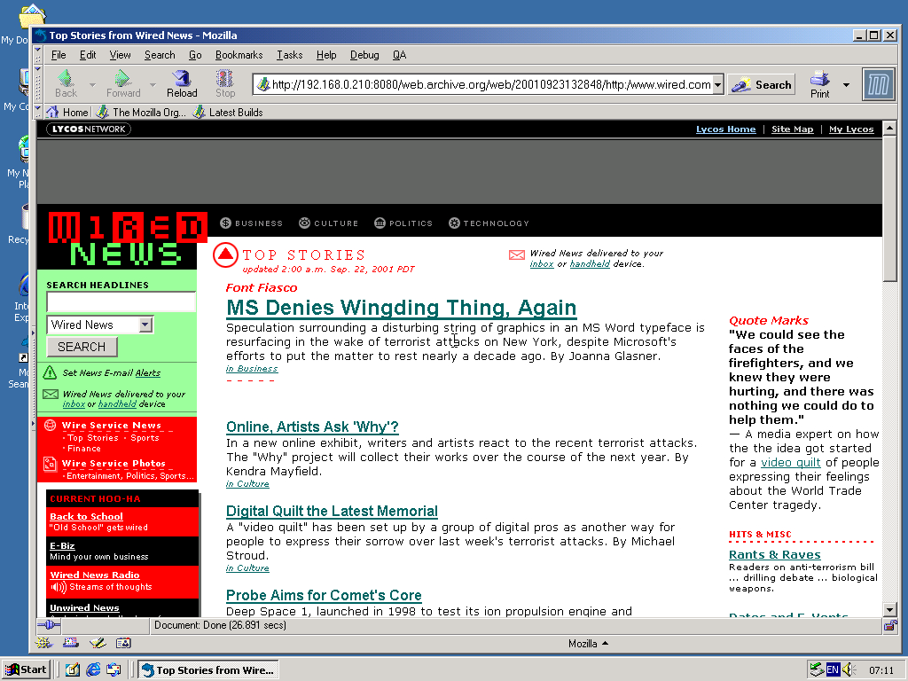 Windows 2000 Pro x86 with Mozilla Suite 0.6 displaying a page from Wired archived at September 23, 2001 at 13:28:48