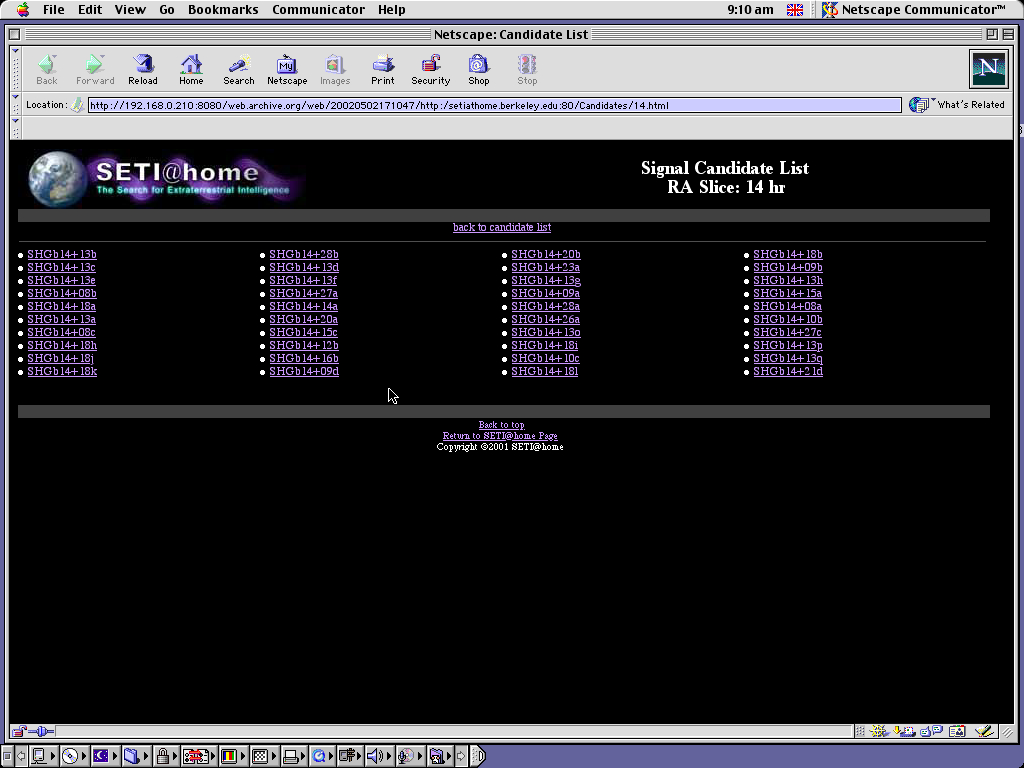 Mac OS 9.0.4 PPC with Netscape Communicator 4.73 displaying a page from Seti@Home archived at May 02, 2002 at 17:10:47