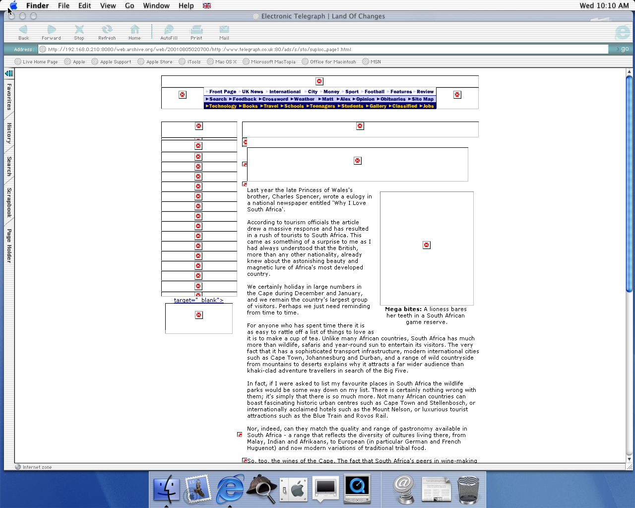 OS X 10.0 PPC with Microsoft Internet Explorer 5.1 for Mac Preview displaying a page from The Telegraph archived at August 05, 2001 at 02:07:00