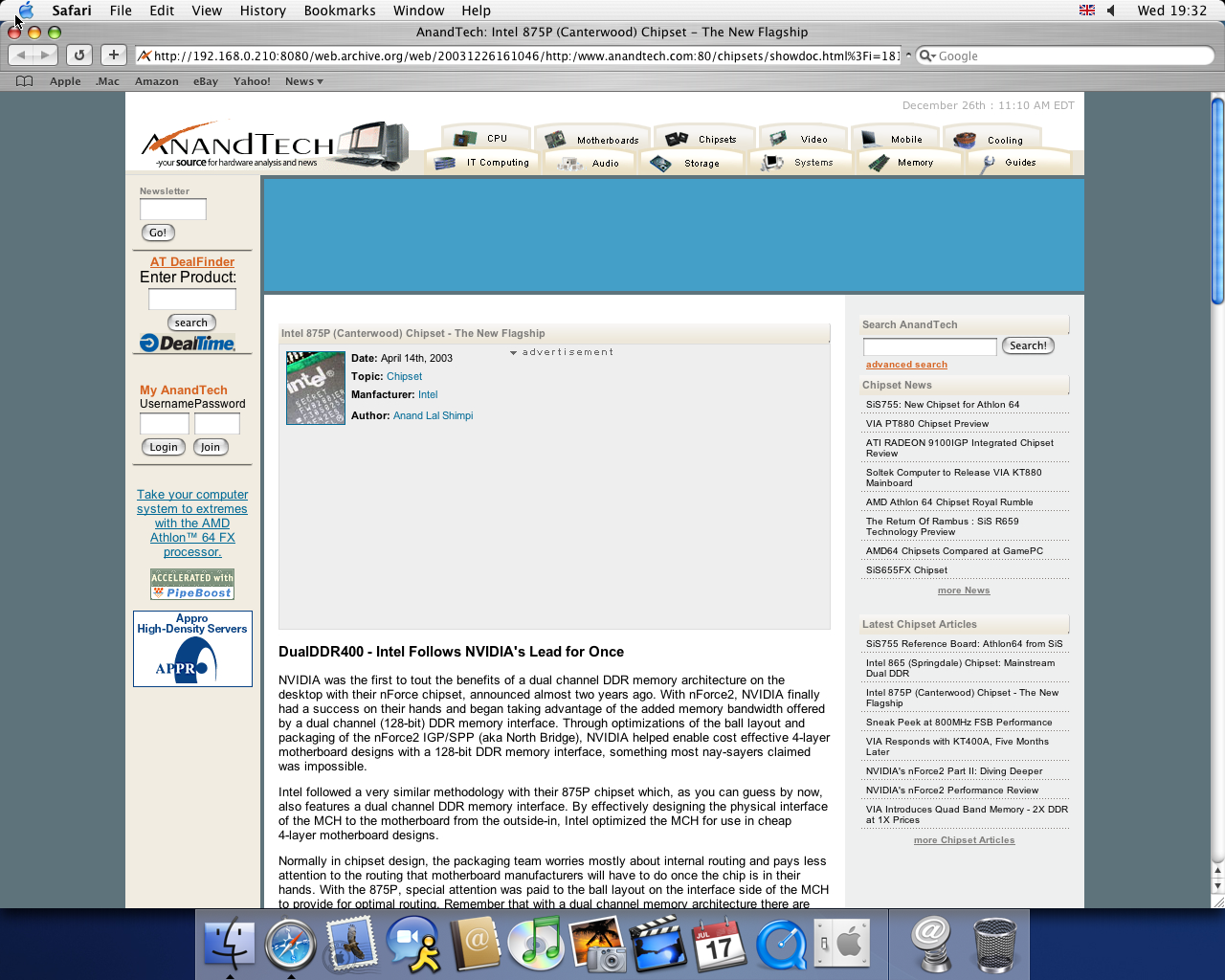OS X 10.3 PPC with Safari 1.1 displaying a page from AnandTech archived at December 26, 2003 at 16:10:46