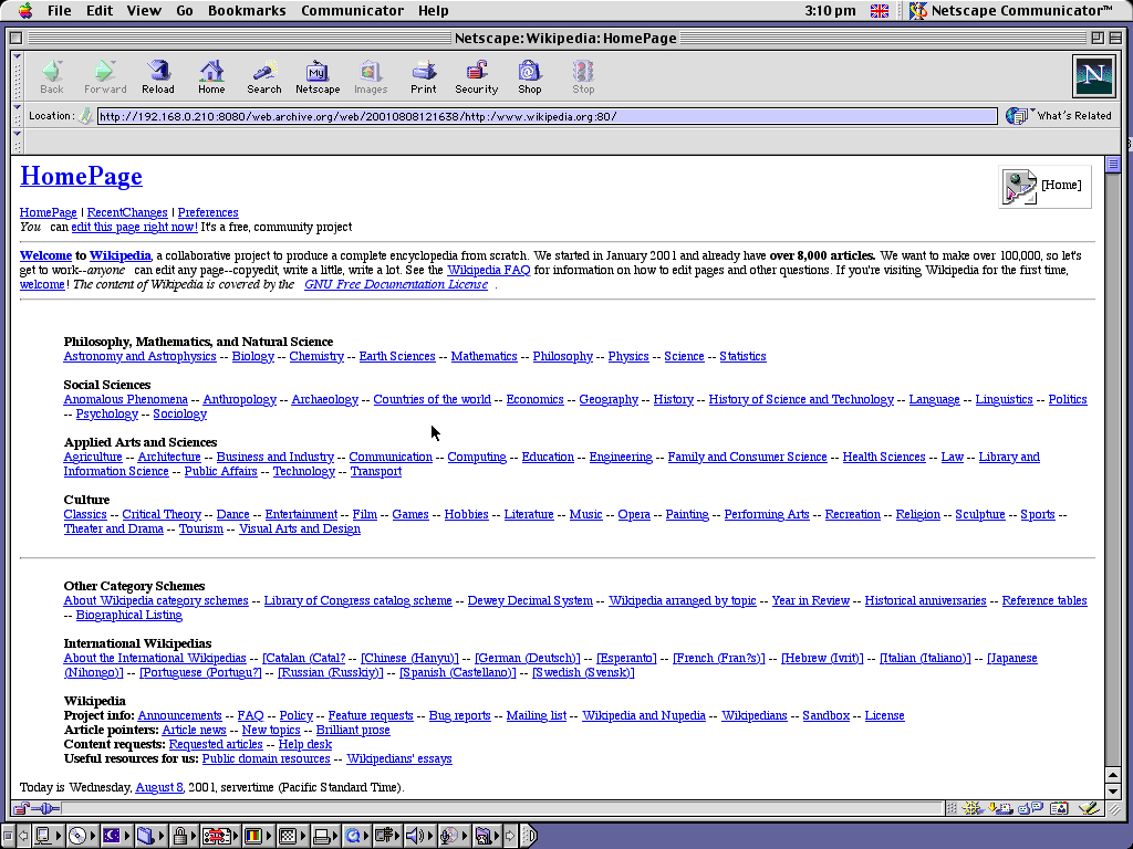 Mac OS 9.0.4 PPC with Netscape Communicator 4.73 displaying a page from Wikipedia.org archived at August 08, 2001 at 12:16:38