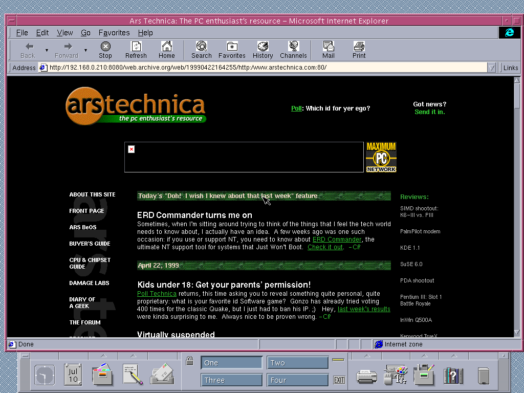 Solaris 2.6 SPARC with Internet Explorer 4.0 for UNIX displaying a page from Arstechnica.com archived at April 22, 1999 at 16:42:55