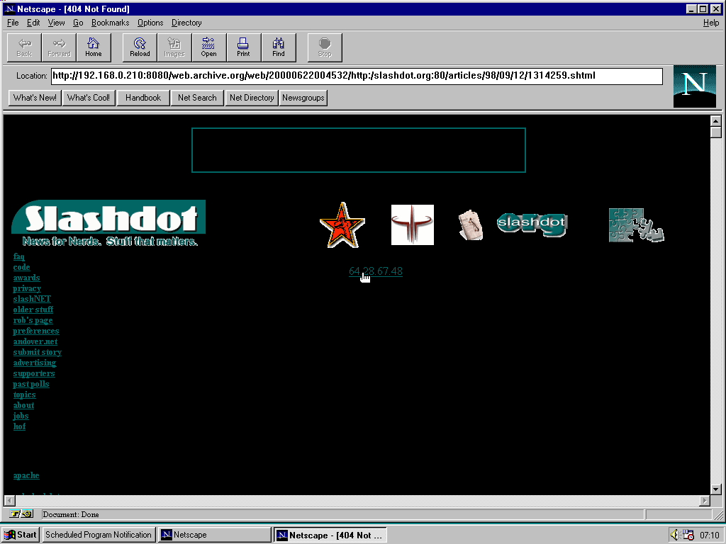Windows 95 RTM x86 with Netscape Navigator 1.1 displaying a page from Slashdot archived at June 22, 2000 at 00:45:32