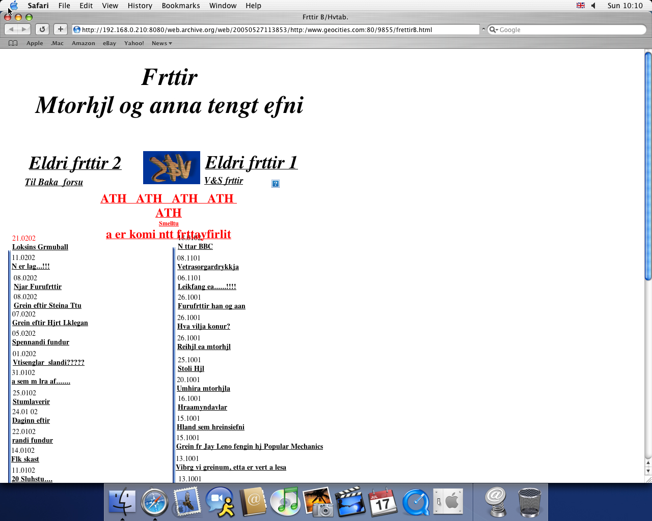 OS X 10.3 PPC with Safari 1.1 displaying a page from GeoCities archived at May 27, 2005 at 11:38:53