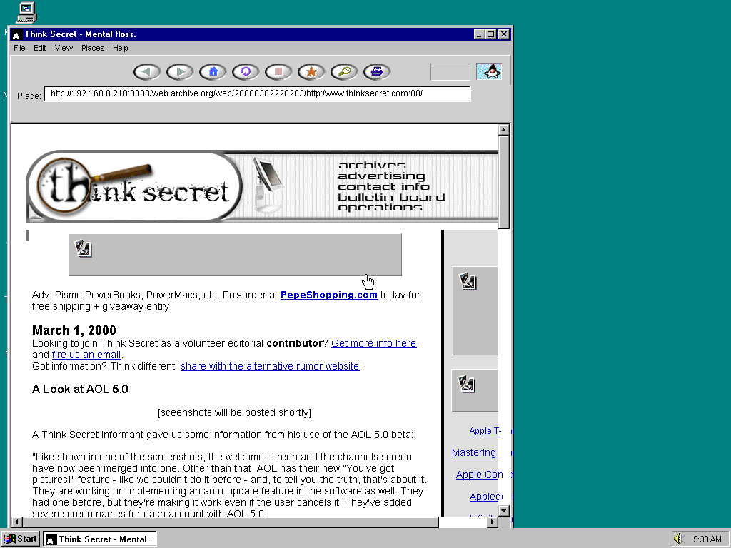 Windows 95 OSR2 x86 with HotJava 1.0 displaying a page from Think Secret archived at March 02, 2000 at 22:02:03