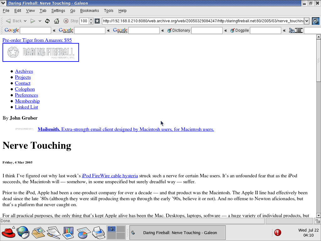 Red Hat 9.0 with Galeon 1.2.7 displaying a page from Daring Fireball archived at March 29, 2005 at 08:42:47