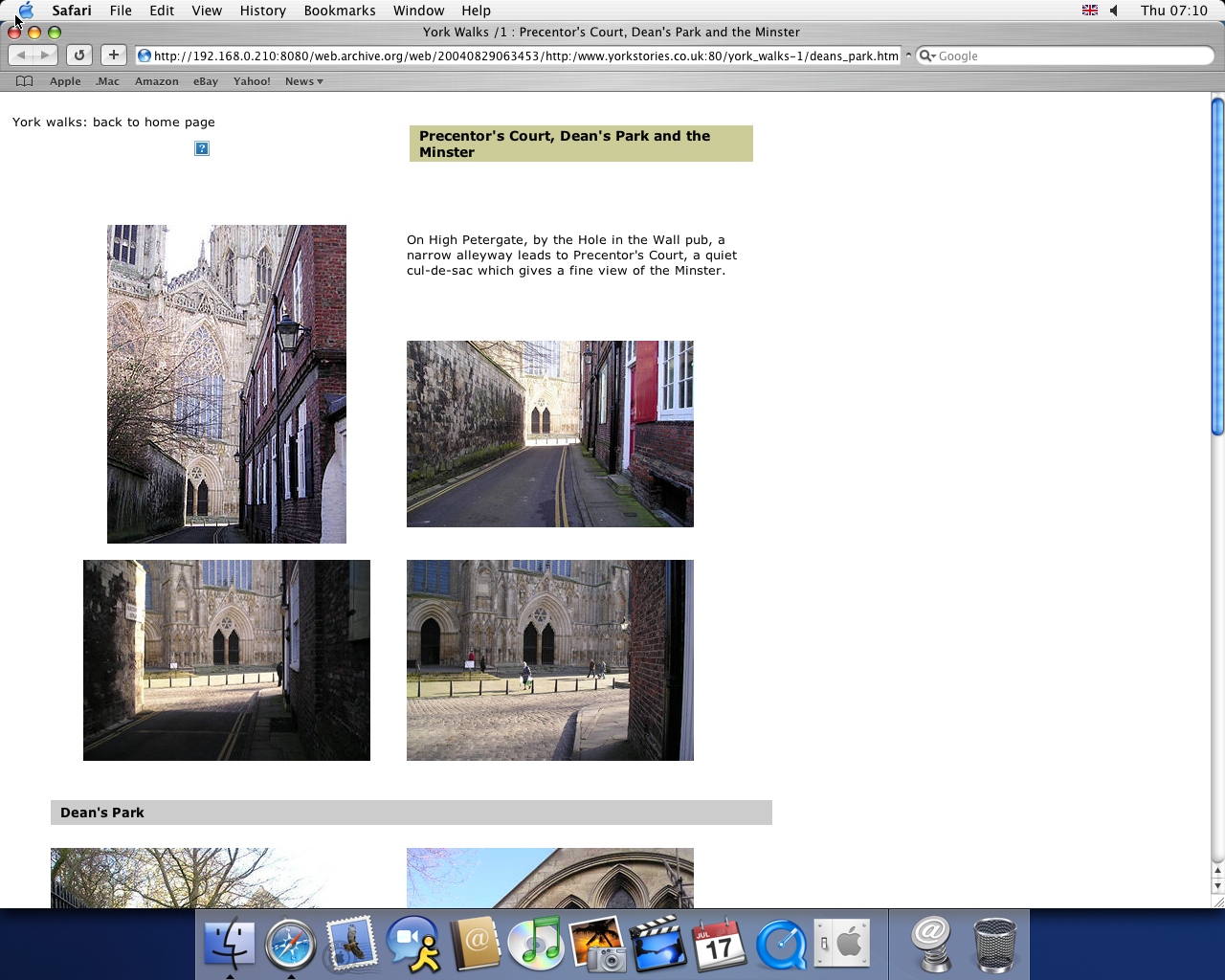 OS X 10.3 PPC with Safari 1.1 displaying a page from York Stories archived at August 29, 2004 at 06:34:53