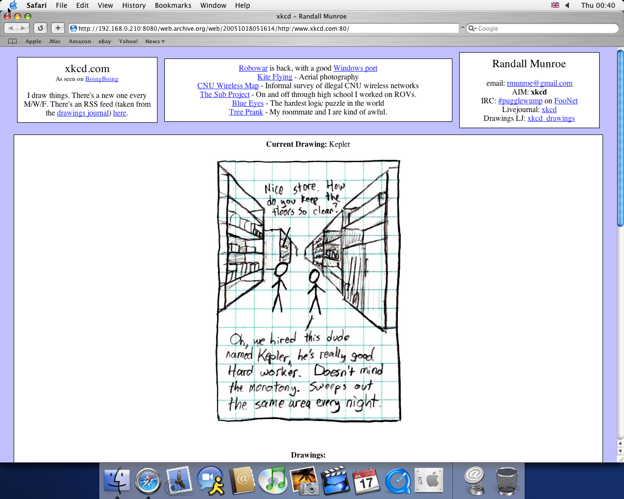 OS X 10.3 PPC with Safari 1.1 displaying a page from XKCD archived at October 18, 2005 at 05:16:14