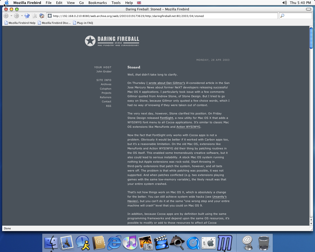 OS X 10.2 PPC with Firebird 0.6 displaying a page from Daring Fireball archived at October 19, 2003 at 17:36:19