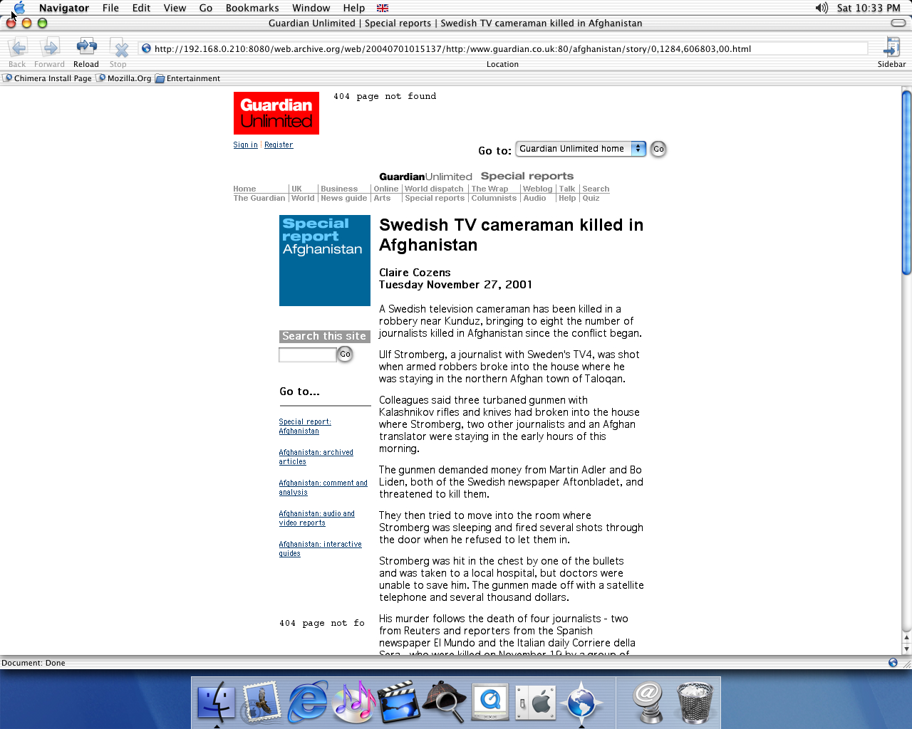 OS X 10.1 PPC with Chimera 0.6 displaying a page from The Guardian archived at July 01, 2004 at 01:51:37