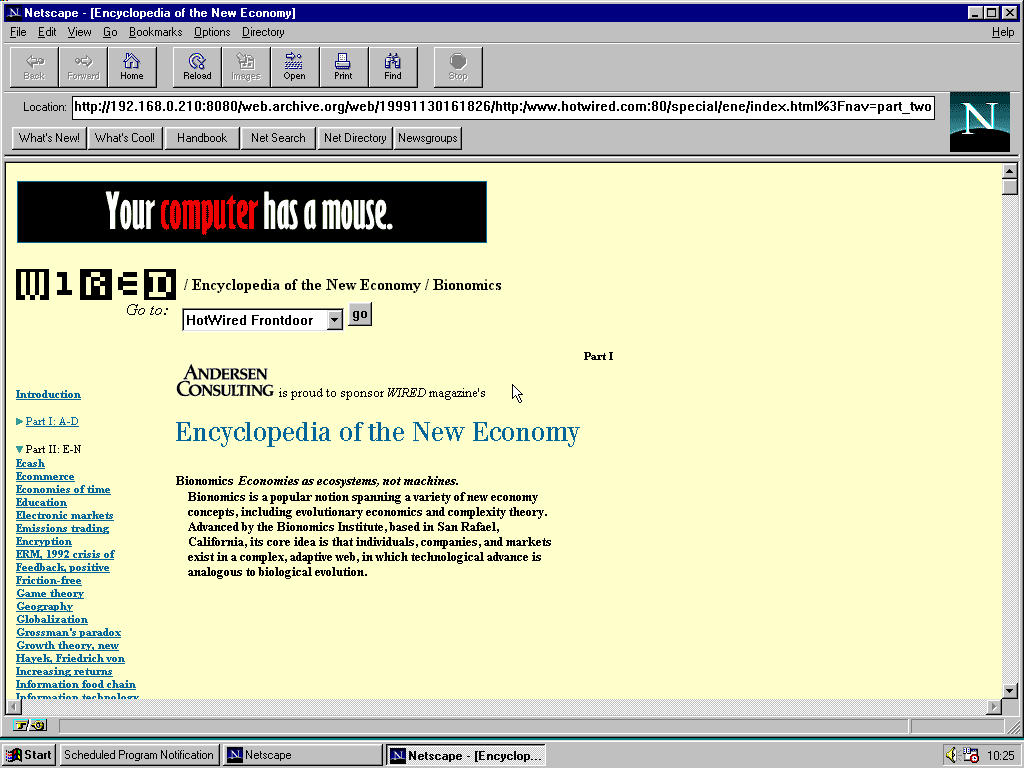 Windows 95 RTM x86 with Netscape Navigator 1.1 displaying a page from HotWired archived at November 30, 1999 at 16:18:26