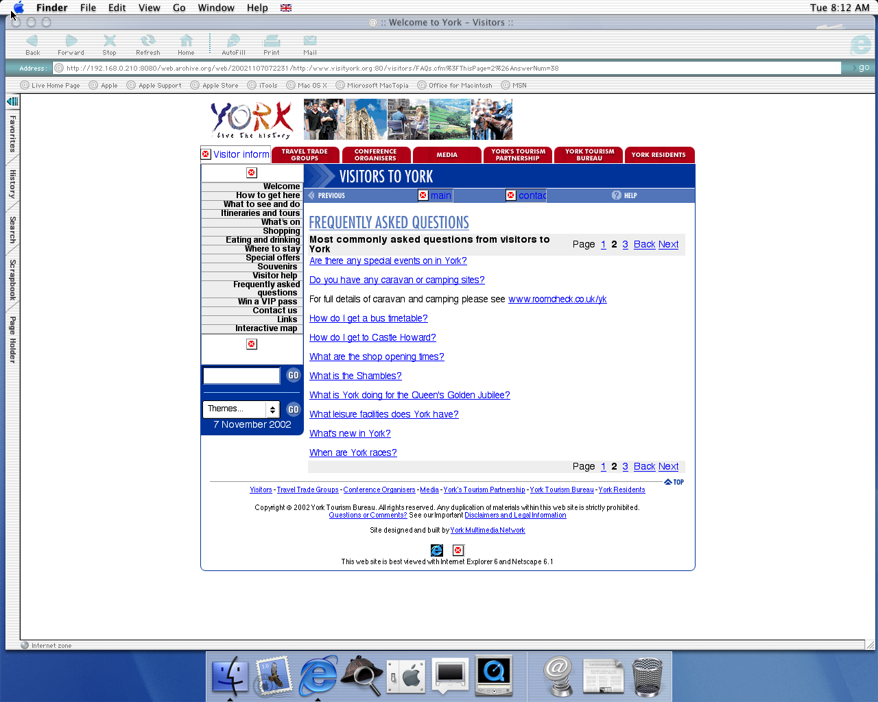 OS X 10.0 PPC with Microsoft Internet Explorer 5.1 for Mac Preview displaying a page from Visit York archived at November 07, 2002 at 07:22:31