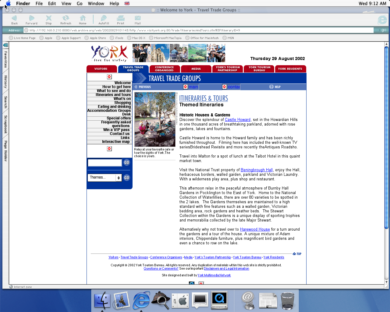 OS X 10.0 PPC with Microsoft Internet Explorer 5.1 for Mac Preview displaying a page from Visit York archived at August 29, 2002 at 10:11:43
