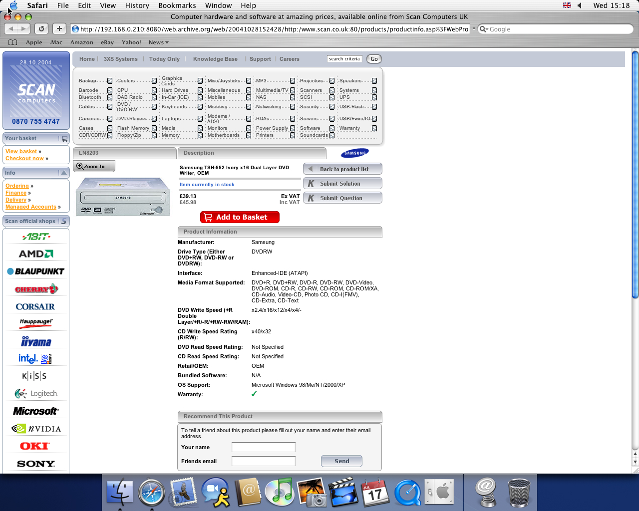 OS X 10.3 PPC with Safari 1.1 displaying a page from Scan Computers archived at October 28, 2004 at 15:24:28
