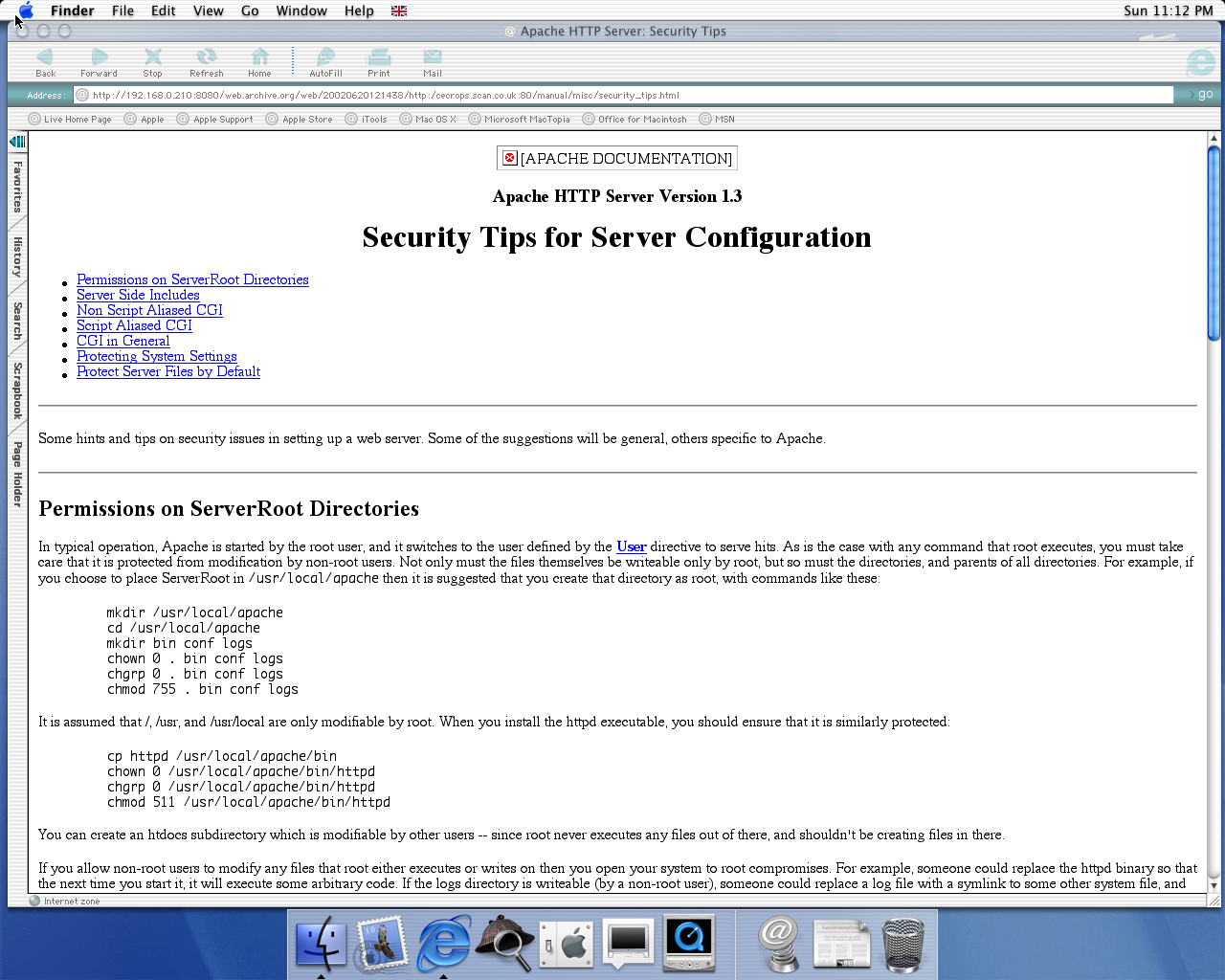 OS X 10.0 PPC with Microsoft Internet Explorer 5.1 for Mac Preview displaying a page from Scan Computers archived at June 20, 2002 at 12:14:38