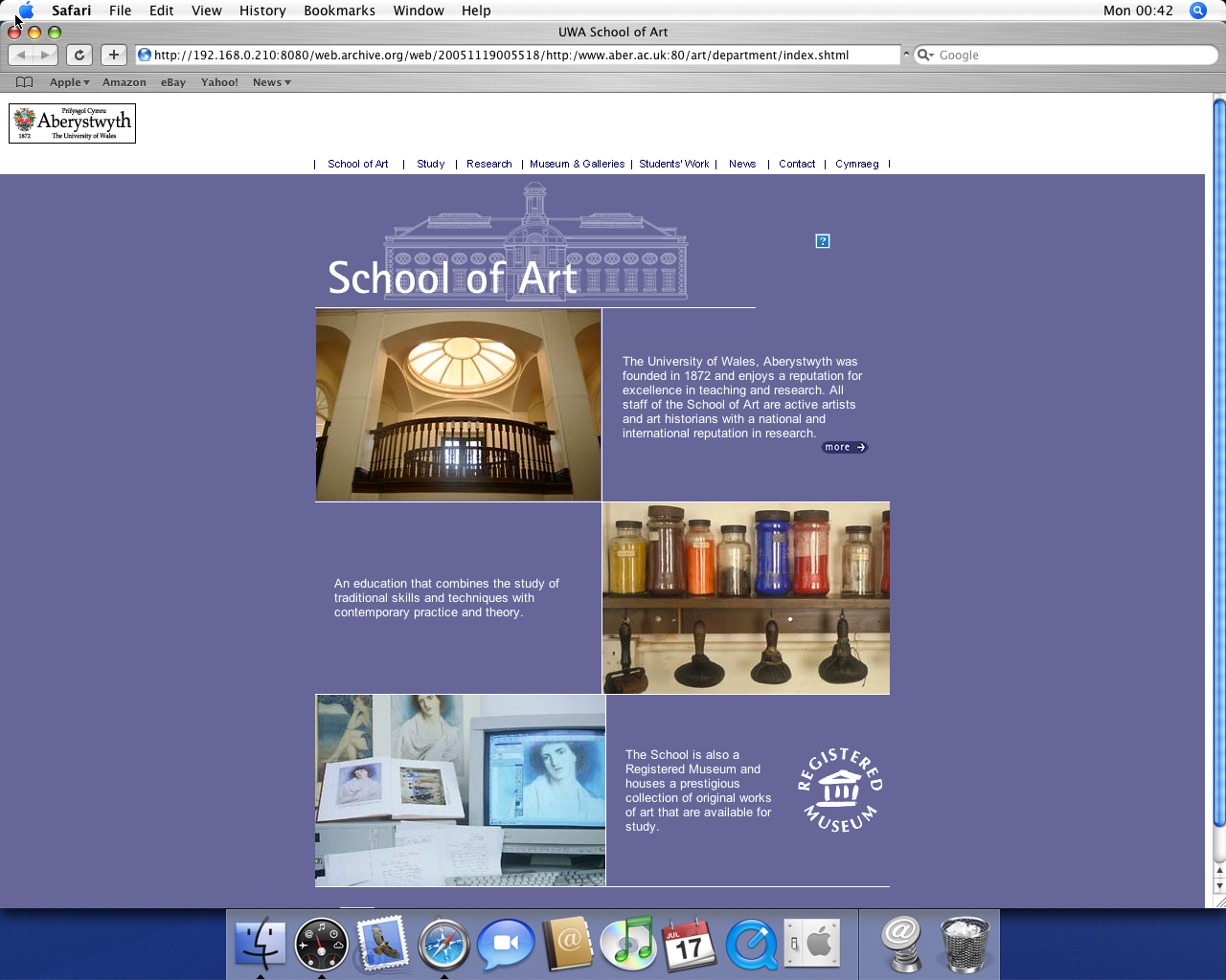 OS X 10.4 PPC with Safari 2.0 displaying a page from University of Aberystwyth archived at November 19, 2005 at 00:55:18