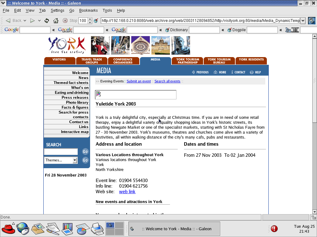 Red Hat 9.0 with Galeon 1.2.7 displaying a page from Visit York archived at November 28, 2003 at 09:48:52